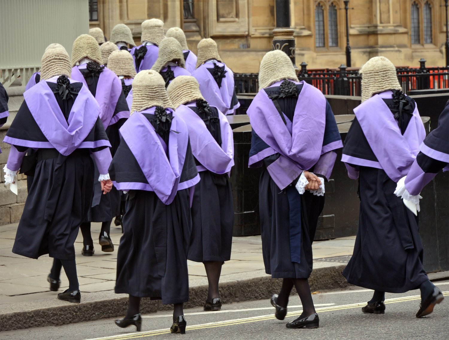 British judges crossing the road