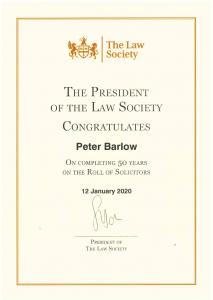 michael barlow 50 years on roll certificate
