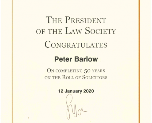 michael barlow 50 years on roll certificate